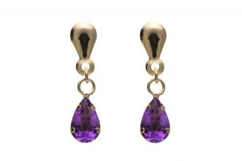 9 Carat Yellow Gold Amethyst Pear Shaped Drop Earring
